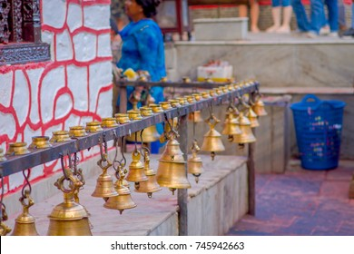 Bells of different size hanging in Taal Barahi Mandir temple, Pokhara, Nepal