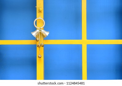 Bells hanging on wooden frame