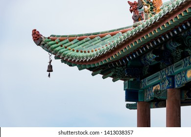 Bells on eaves of ancient Chinese buildings.