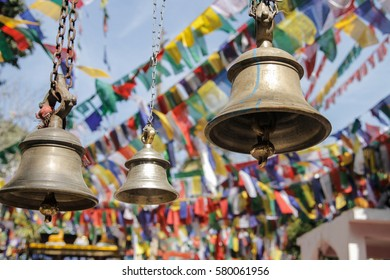 Bells and praying flags in Darjeeling, India.