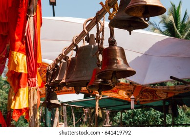 bells in a row. a fragment of a Hindu temple.