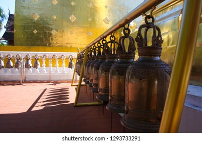 Bells in a row at Wat Phra Singh temple Chiang Mai