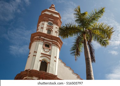 Bell-tower of the church in the historic centre of Veracruz city, Mexico