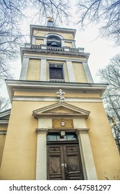 Belltower of Holy Trinity Church, Helsinki. Was built in the neo classical style in 1826