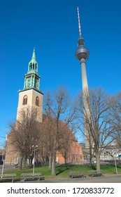Belltower of St. Mary's Church  and TV tower at Alexanderplatz Berlin, Germany