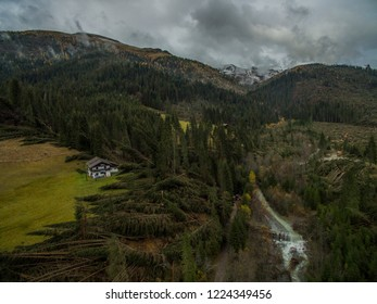 Belluno, Italy. 03th November, 2018. Overview made with the drone of the damage caused by the flood in the Belluno area, in Val Visdende Belluno, Italy.