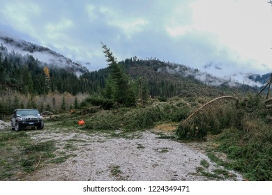 Belluno, Italy. 03th November, 2018. A view of the area hit by the flood in Val Visdende Belluno, Italy.