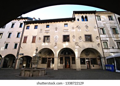 Belluno / Italy - February 18 2019: view of the ancient market square