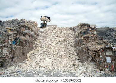 BELLUNO, ITALY - February 27, 2017 - This paper mill is a factory devoted to making paper and coated cardboard from recycled paper - Waste paper recycling