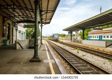 Belluno, Italy - JUL 05, 2018: A train of Trenitalia railway company is arriving on station in Belluno, Veneto