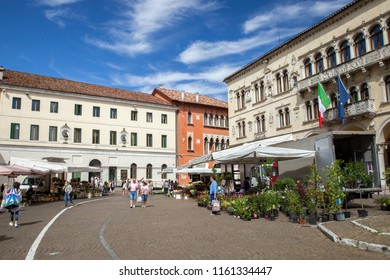 Belluno, Italy - JUL 06, 2018: Saturday street market in historical part of Belluno, Veneto