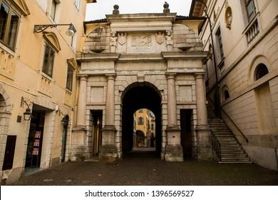 BELLUNO, ITALY – MAY 03, 2019: the historic city center of Belluno. Veneto region, Northern Italy.