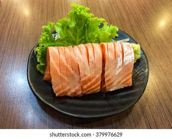Belly part of Salmon sashimi.