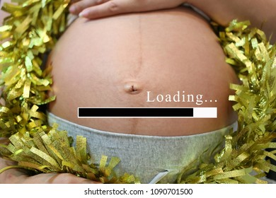 Belly of pregnant women and loading text in concept of time in childbirth and start as a mother.