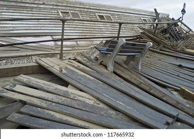 BELMAR, NEW JERSEY/USA - OCTOBER 30: The damaged boardwalk along the beach the day after Hurricane Sandy on October 30, 2012 in Belmar New Jersey.