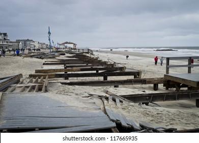 BELMAR, NEW JERSEY/USA -Â?Â? OCTOBER 30: The damaged boardwalk along the beach the day after Hurricane Sandy on October 30, 2012 in Belmar New Jersey.