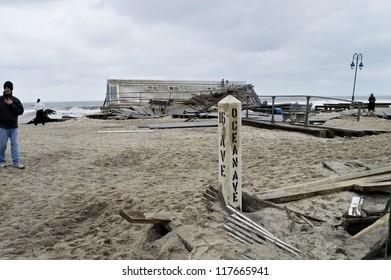 BELMAR, NEW JERSEY/USA -Â?Â? OCTOBER 30: The Devastation along the beach the day after Hurricane Sandy on October 30, 2012 in Belmar New Jersey.
