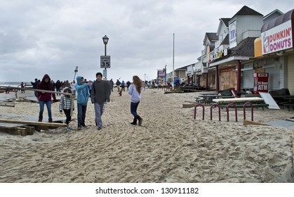 BELMAR, NEW JERSEY/USA - OCTOBER 30: Ocean Ave. full of sand the day after Hurricane Sandy on October 30 2012 in Belmar, NJ.