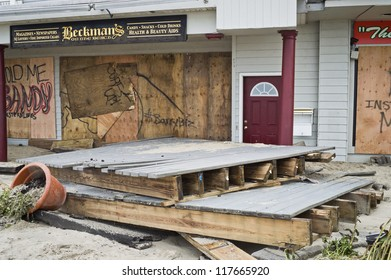 BELMAR, NEW JERSEY/USA-Â?Â? OCTOBER 30: Damaged store fronts along Ocean Ave the day after Hurricane Sandy on October 30, 2012 in Belmar New Jersey.