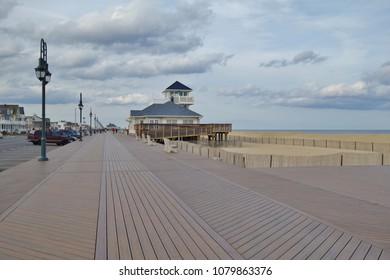 BELMAR, NJ -1 APR 2018- View of Belmar, a borough in Monmouth County, New Jersey along the long Jersey Shore beach on the Atlantic Ocean.