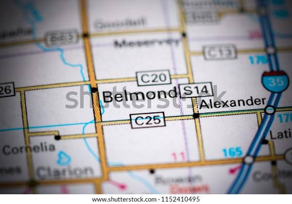 Belmond. Iowa. USA on a map