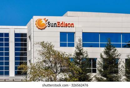 Belmont, CA, USA - Oct. 11, 2015: SunEdison Company. SunEdison is the world's largest renewable energy development company, with more than 3,300 employees worldwide.
