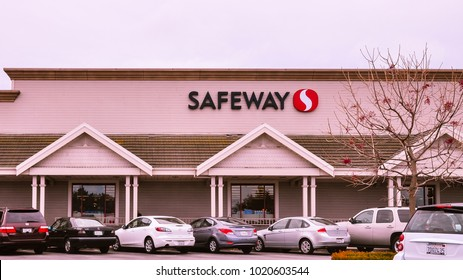 Belmont, CA/USA - Jul 25, 2017: Safeway Grocery Store in Belmont, CA. Safeway Inc. is a supermarket chain and is a subsidiary of Albertson's.