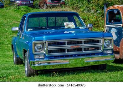 Belmont, Nova Scotia, Canada - September 9, 2017 : 1977 GMC pickup truck on display at 3rd Annual Belmont Show & Shine in rural Nova Scotia.