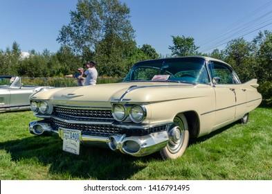 Belmont, Nova Scotia, Canada - September 9, 2017 : Classy vintage 1959 Cadillac Eldorado 4 door hardtop at 3rd Annual Belmont Show & Shine in rural Nova Scotia.