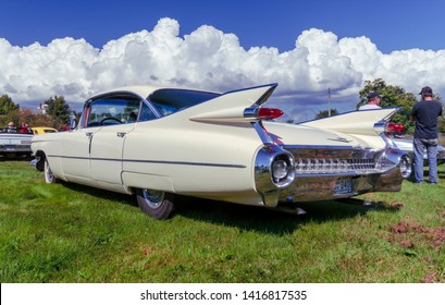 Belmont, Nova Scotia, Canada - September 9, 2017 : Rear side view of a  1959 Cadillac Eldorado 4 door hardtop at 3rd Annual Belmont Show & Shine in rural Nova Scotia.
