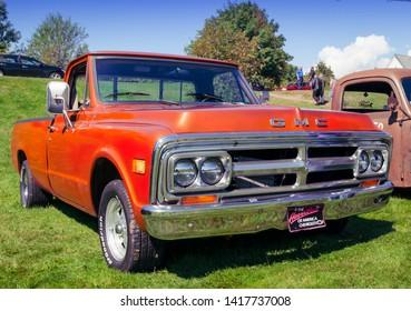 Belmont, Nova Scotia, Canada - September 9, 2017 : 1972 GMC pickup truck at 3rd Annual Belmont Show & Shine in rural Nova Scotia.