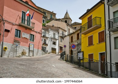 Belmonte del Sannio, Italy, June 21, 2021. A small street among the old houses of a medieval town in the Molise region