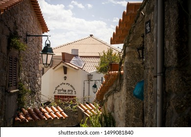 Belmonte, Portugal - April 26, 2013: A synagogue in a historical village of Belmonte in Portugal.