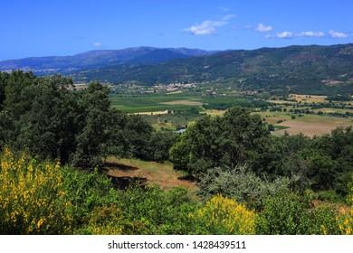 Belmonte, Portugal. Panoramic view of the  fertile valley of Cova da Beira in the Serra da Estrela mountains.