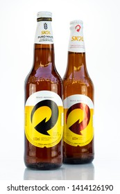 BELO HORIZONTE, BRAZIL - APRIL 19, 2019: Skol pilsen beer and pure malt two bottle background isolated on white, Skol is the popular beer in Brazil, Lager chopp pilsen and puro malte Brasileira, 600ml