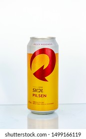 BELO HORIZONTE, BRAZIL - APRIL 19, 2019: Skol pilsen beer can background isolated on white, Skol is the most popular beer in Brazil, Lager chopp pilsen Brasileira, 473ml