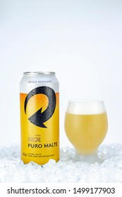 BELO HORIZONTE, BRAZIL - APRIL 19, 2019: Skol beer can background isolated on white, Skol Pure Malt is the most popular beer in Brazil, Lager puro malte Brasileira, 473ml