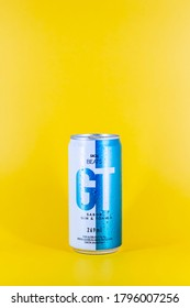 BELO HORIZONTE, BRAZIL - AUGUST 08, 2020: Skol Beats GT Gin And Tonics beer can with background isolated, drink alcoholic mixed carbonated is the most popular beer in Brazil, Brasileira, 269ml