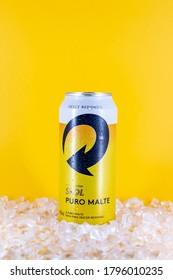BELO HORIZONTE, BRAZIL - AUGUST 08, 2020: Skol beer can background isolated on white, Skol Pure Malt is the most popular beer in Brazil, Lager puro malte Brasileira, 473ml