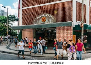 Belo Horizonte, Brazil - Dec 23, 2017: Entrance to Mercado Central of Belo Horizonte, Minas Gerais, Brazil  lively indoor market featuring food, crafts souvenir vendors, plus informal bars