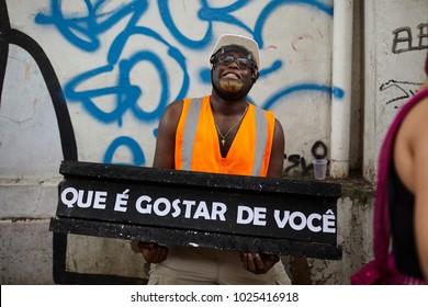 BELO HORIZONTE, BRAZIL - FEBRUARY 10, 2018: People celebrating Carnival on a street February 10, 2018, Belo Horizonte, Minas Gerais, Brazil