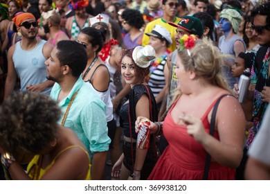 BELO HORIZONTE, BRAZIL - FEBRUARY 16,  2015: People celebrating Carnival on a street February 16, 2015, Belo Horizonte, Minas Gerais, Brazil