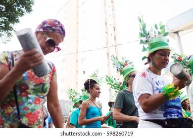 BELO HORIZONTE, BRAZIL - FEBRUARY 19, 2017: People celebrating Carnival on a street February 19, 2017, Belo Horizonte, Minas Gerais, Brazil