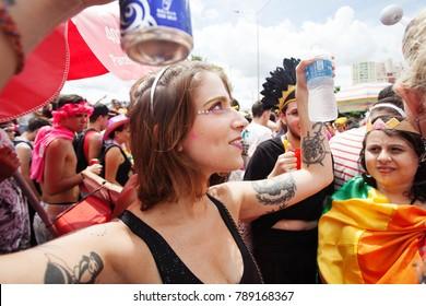 BELO HORIZONTE, BRAZIL - FEBRUARY 25, 2017: People celebrating Carnival on a street February 25, 2017, Belo Horizonte, Minas Gerais, Brazil