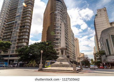 Belo Horizonte, BRAZIL - JUL 4 , 2018; Obelisk in the Sete Square in Belo Horizonte