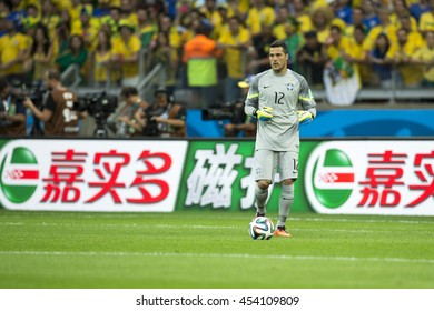 Belo Horizonte, Brazil - july 08, 2014: JULIO CESAR of Brazil during the FIFA 2014 World Cup. Brazil is facing Germany in the semi-finals at Mineirao Stadium