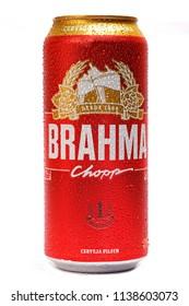 BELO HORIZONTE, BRAZIL - JULY 20 2018: Beer BRAHMA Pilsen Brasileira