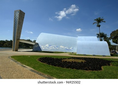 BELO HORIZONTE, BRAZIL - JULY 22:  An exterior of the church of Sao Francisco de Assis is shown July 22, 2005 in Belo Horizonte. Built by Oscar Niemeyer it is also known as the Church of Pampulha.