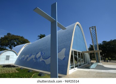 BELO HORIZONTE, BRAZIL - JULY 22:  A cross lies outside the church of Sao Francisco de Assis July 22, 2005 in Belo Horizonte. Built by Oscar Niemeyer it is also known as the Church of Pampulha.