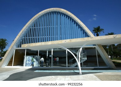 BELO HORIZONTE, BRAZIL - JULY 22: An exterior view of the church of Sao Francisco de Assis is shown July 22, 2005 in Belo Horizonte, Brazil. Built by Oscar Niemeyer it is also known as the Church of Pampulha.